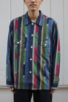 South2 West8 / Smokey Shirt - Cotton Cloth / Ikat Pattern - NVY/RED/GRN