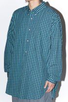 Marvine Pontiak shirt makers / B.D P/O L/S Shirts -blue green check-
