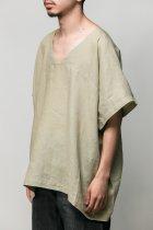 <font color=#FF0000>【50%OFFクーポン対象】</font>Badhiya / Vneck pullover-linen- green 200924