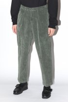RICCARDO METHA / 1TUCK WIDE PANTS CORDUROY -olive