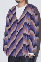 South2West8 / V Neck Army Shirt - Ikat Wave - purple