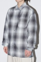 OMBRE CHECK L/S SHIRTS - gray/white