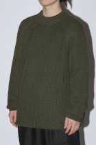 O project / KNITTED CREW NECK - dark olive