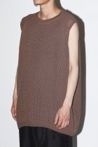 O project / WIDE FIT SLEEVELESS TEE MESH - taupe