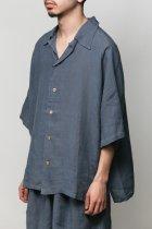 Badhiya / Open collar ss shirts -linen- blue
