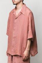 Badhiya / Open collar ss shirts -linen- pink