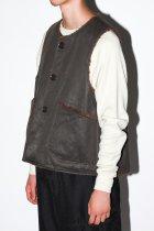 Engineered Garments / Over Vest  Coated Twill - dark olive
