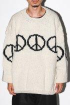 MacMahon Knitting Mills / Line Peace Crew Neck Knit - white