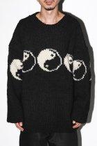 【11月中旬再入荷予定商品/再入荷通知受付中】 MacMahon Knitting Mills / Line Yin & Yang Crew Neck Knit - black