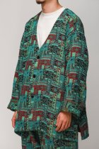 South2 West8 / V Neck Army Shirt - India Jacquard - emerald