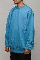 DAMAGED CREWNECK - turquoise