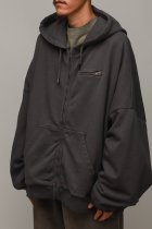 WILLY CHAVARRIA / WAFFLE LINED ZIP BOMBER HOODIE - ash gray