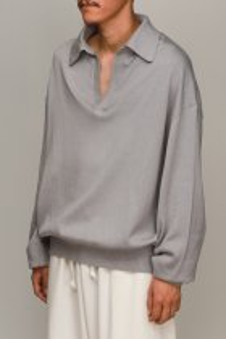 LOCALINA-MERIYASU- / knit skipper L/S - gray
