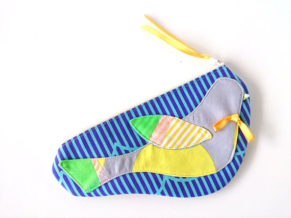 青いシマシマ トリのシルエットポーチ