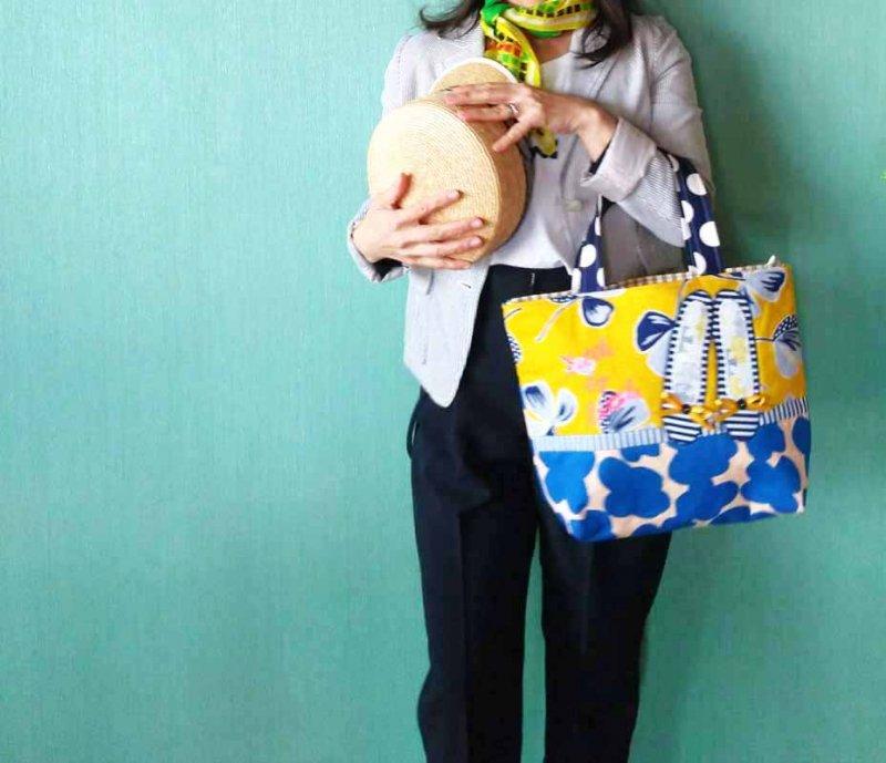 黄色の花柄 春をいろどるバッグ  miniトートバッグ
