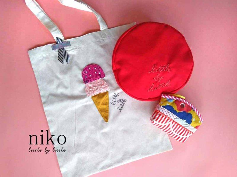 お得なベレー帽とポーチセット アイスクリーム エコバッグ  毎日の笑顔と一緒に持ち歩こう