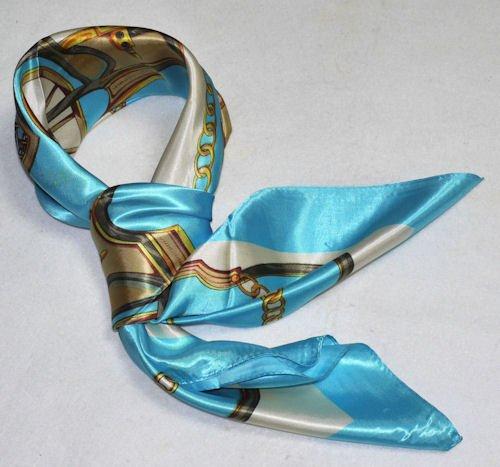 華麗な高級シルク調スカーフ 花柄90角正方形大判スカーフ