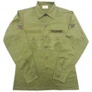 1982年製 U.S.A. VINTAGE ARMY OG-507 ユーティリティ シャツ カラー:オリーブグリーン サイズ:15½x35 グレード:AB