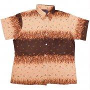 70年代製 USA ヴィンテージ DeeCee レトロシャツ 草花 植物柄 メンズ 半袖 グレード:A ランク  カラー:茶系  サイズ:L
