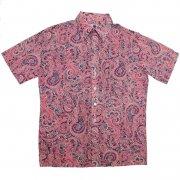 70年代製 USA ヴィンテージ レトロシャツ ペイズリー柄 メンズ 半袖 グレード:A ランク  カラー:紺/赤/ピンク 系  サイズ:L