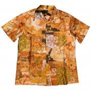 70年代製 USA ヴィンテージ レトロシャツ ハワイアン 風景柄 メンズ 半袖   グレード:A ランク  カラー:金茶色 系  サイズ:L