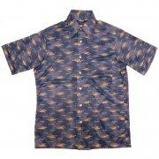 70年代製 USA ヴィンテージ レトロシャツ ポリエステル 幾何学模様柄 メンズ 半袖                 グレード:A ランク  カラー:紺/茶/黄 系  サイズ:M