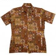 70年代製 USA ヴィンテージ レトロシャツ バロック柄 メンズ 半袖                 グレード:A ランク  カラー:茶/青/黄 系  サイズ:M
