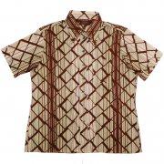 70年代製 USA ヴィンテージ レトロシャツ 幾何学和風柄 メンズ 半袖                 グレード:A ランク  カラー:茶/緑/黄 系  サイズ:XL