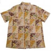 70年代製 USA ヴィンテージ レトロシャツ 和風 花柄 メンズ 半袖                 グレード:A ランク  カラー:茶/緑/黄 系  サイズ:XL