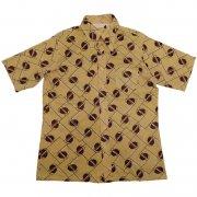 70年代製 USA ヴィンテージ レトロシャツ 図形柄 メンズ 半袖                 グレード:BC ランク  カラー:からし色/茶/黒 系  サイズ:L