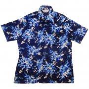 70年代製 USA ヴィンテージ レトロシャツ 樹木 枝葉柄 メンズ 半袖                 グレード:AB ランク  カラー:紺/青/白 系  サイズ:XL