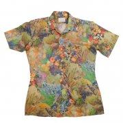 70年代製 USA ヴィンテージ ゴールデン・アロー レトロシャツ 風景柄 メンズ 半袖                 グレード:A ランク  カラー:青/赤/緑/茶 系  サイズ:M