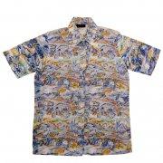 70年代製 USA HABAND PATERSON ヴィンテージ レトロシャツ 風景柄 メンズ 半袖                 グレード:AB ランク  カラー:紺/茶/青/白 系  サイズ:L
