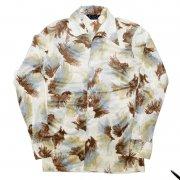 1970年代製 USA エゴボンドストリート ヴィンテージ イタリアンカラーシャツ アセテート ナイロン レトロ ディスコ シャツ 色/柄:造形模様 メンズ 長袖 サイズ:15 M グレード:AB