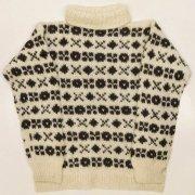 1980年代以前製 USA タートル ジャカード編み 編み込み バルキーセーター 色/柄:アイボリー ダークブラウン 長袖 レディース サイズ:XS位 グレード:AB
