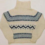 1980年代以前製 USA タートル バルキーセーター ジャカード編み 編み込み 色/柄:アイボリー ブルー 長袖 レディース サイズ:M位 グレード:AB