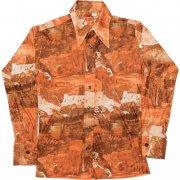 1970年代製 USA ヴィンテージ アセテート ナイロン レトロシャツ ディスコ シャツ 色/柄:金茶、風景 メンズ 長袖 サイズ: M グレード:AB
