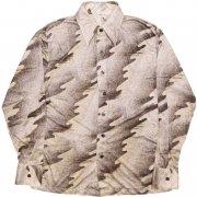 1970年代製 USA ヴィンテージ ナイロンシャツ レトロシャツ ディスコ シャツ 色/柄:銀色系、幾何学模様 メンズ 長袖 サイズ: M グレード:B
