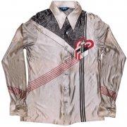 1970年代製 USA Atto ヴィンテージ アセテート ナイロン レトロ ディスコ シャツ 色/柄:シルバー系 抽象柄 メンズ 長袖 サイズ: L グレード:BC