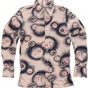1970年代製 USA ヴィンテージ ナイロン レトロ ディスコ シャツ 色/柄:淡ピンク系 光沢 抽象柄 メンズ 長袖 サイズ: S グレード:AB
