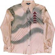 1970年代製 USA ATTO ヴィンテージ アセテート ナイロン レトロ ディスコ シャツ 色/柄:淡ピンク系 光沢 抽象柄 メンズ 長袖 サイズ: L グレード:AB