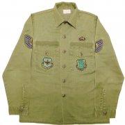 1985年製 U.S.A. AIR FORCE OG-507 ガルフ アパレルコーポレーション フィールド ユーティリティシャツ カラー:オリーブグリーン サイズ:15½ x35