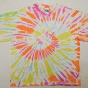 1990年代製 USA Tie Dye T-shirt タイダイTシャツ 橙色/紫/黄/青/白 サイズ:XL グレード:BC