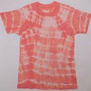 1970〜80年代製 USA Tie Dye T-shirt タイダイTシャツ 珊瑚色/クリーム色 サイズ:M グレード:B