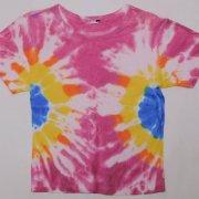 1970〜80年代製 USA Tie Dye T-shirt タイダイTシャツ リブTシャツシャツ 橙色/紫/黄/青/白 レディース サイズ:S グレード:B