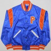 1980年代製 USA PONY ポニー  ナイロンベースボールジャッケット ロゴ刺繍 ワッペン:P  色/柄: 光沢色 ブルー サイズ:M グレード:B