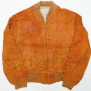 1960年代製 U.S.A. Guiterman bros. INC. Town Country レザーZIPジャケット ヌバック スウェード クラウン ジッパー 色:ブラウン M位 グレード:B
