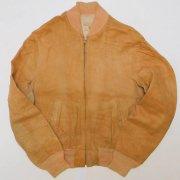 1950〜60年代製 U.S.A. Vintage CRESCO クレスコ レザーZIPジャケット ヌバック スウェード コンマティックジッパー 色:タン MS位 グレード:BC