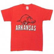 1970年代製 U.S.A. Stedman プリントTシャツ ARKANSAS 色:レッド サイズ:L 14-16 ボーイズ グレード:AB
