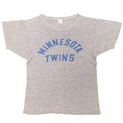 60年代後半〜70年代前半製 U.S.A. CHAMPION プリントTシャツ MINNESOTA TWINS 色:霜降りグレー サイズ:M グレード:B